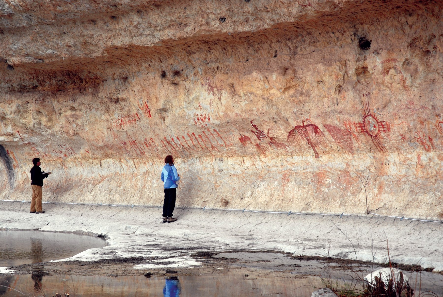 Scientists believe that rock art sites were chosen for their visual and acoustic properties.