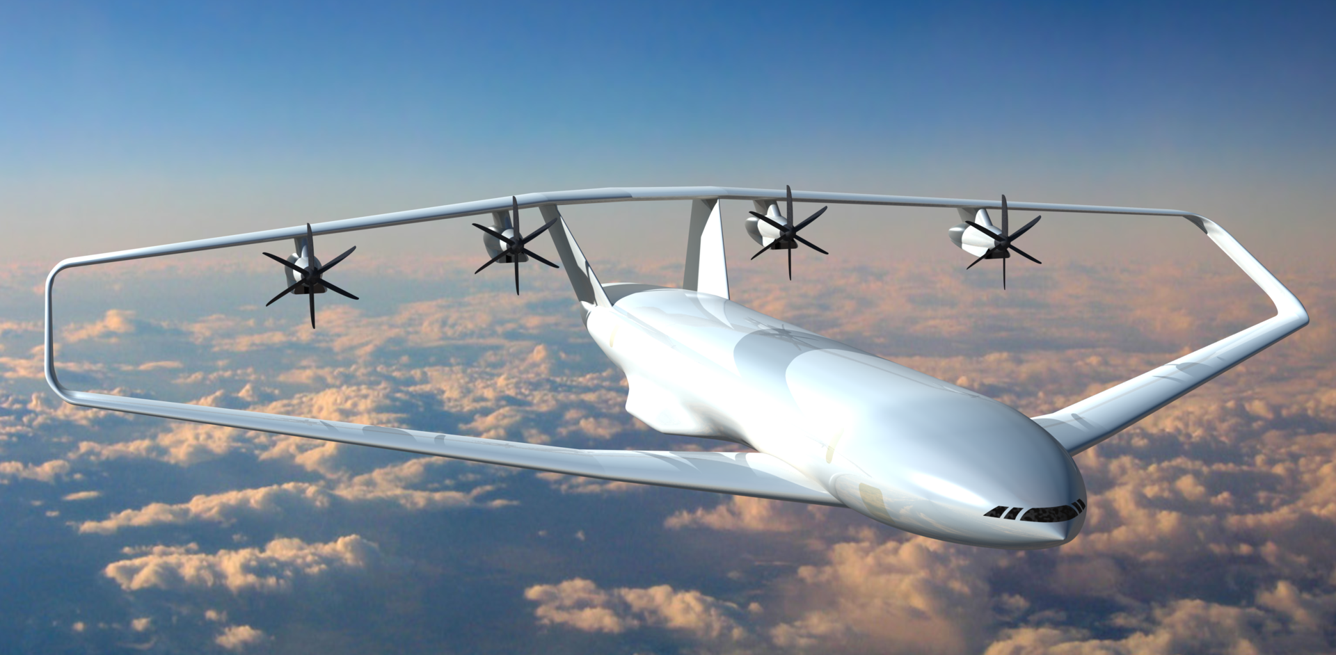 An artist's view of the PrandtlPlane shows what future commercial aircrafts could look like.
